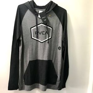 NWT RVCA gray hooded pullover
